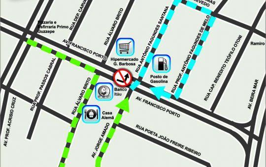 SMTT muda trânsito nas avenidas Francisco Porto e Jorge Amado