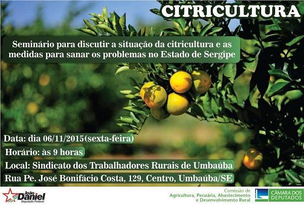 Situação da citricultura sergipana será debatida em seminário