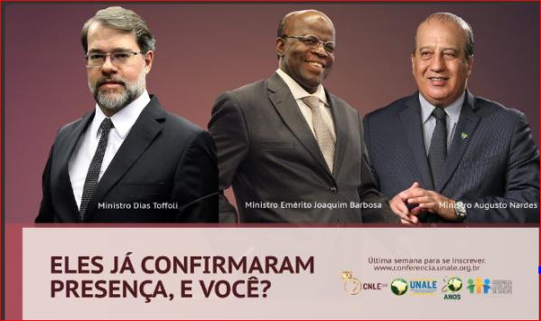 Ministros confirmam presença na 20ª Conferência Nacional da Unale, em Aracaju
