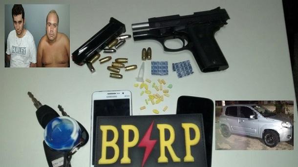 Policias da RP prendem homens com  drogas sintética, arma e carro com placa clonada
